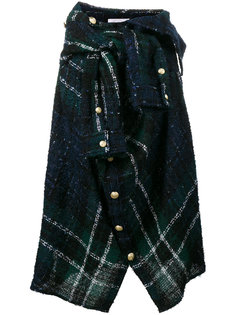 асимметричная клетчатая юбка-рубашка с запахом  Faith Connexion
