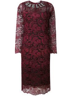 кружевное платье с длинными рукавами и логотипом Gaelle Bonheur