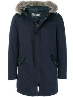 пальто с капюшоном с меховой оторочкой Herno