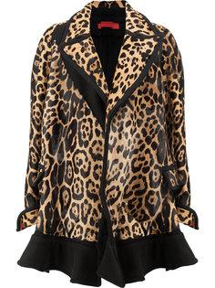 пальто с леопардовым принтом с оборками на подоле Di Liborio