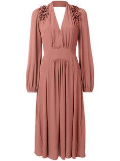 крепдешиновое платье с отделкой на плечах Nº21