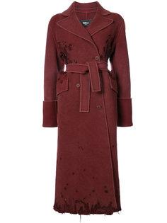 двубортное пальто с потертой отделкой Yang Li
