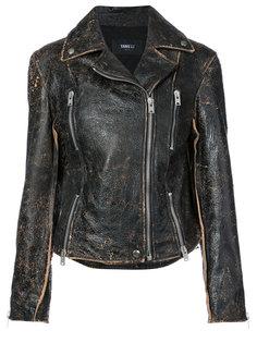байкерская куртка с потертой отделкой Yang Li