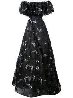 длинное платье с принтом птиц Christian Siriano
