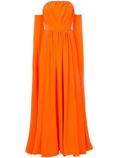 длинное платье с открытыми плечами Christian Siriano
