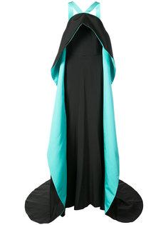 двухцветное длинное платье  Christian Siriano