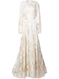 длинное платье с цветочным принтом Christian Siriano