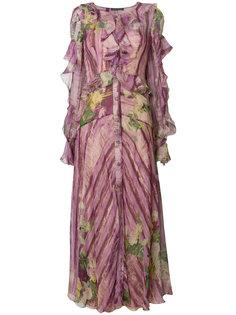 платье с цветочным узором и оборками Alberta Ferretti