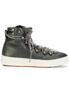 кроссовки на шнуровке с меховой отделкой Santoni