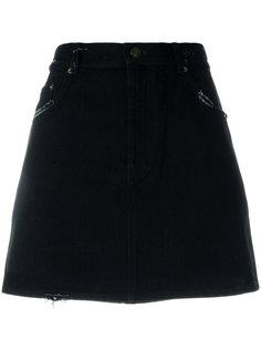 джинсовая юбка мини с вышивкой Saint Laurent