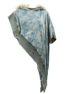 худи асимметричного кроя с камуфляжным принтом Greg Lauren