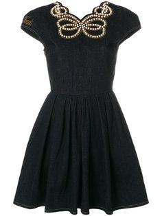 denim pearl embellished dress Fendi