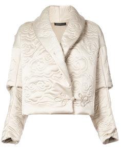 куртка с лацканами-шалькой и тисненым узором Natori
