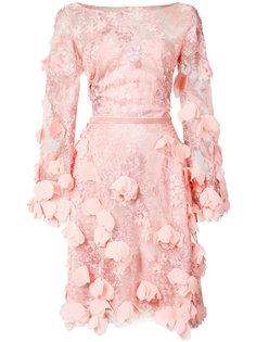 кружевное приталенное платье Marchesa Notte