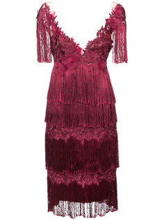 платье с отделкой из бахромы Marchesa Notte