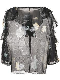прозрачная блузка с цветочным принтом Foxglove  Thomas Wylde