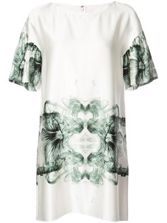 printed ruffle sleeve shift dress Thomas Wylde