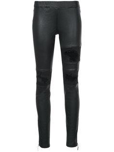 кожаные брюки с рваной отделкой Thomas Wylde