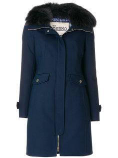 пальто-пуховик с лисьим мехом Herno