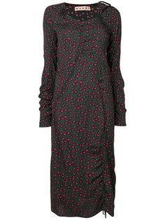 платье мини с оборками и принтом Marni