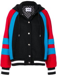 куртка бомбер с капюшоном MSGM