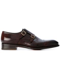 туфли-монки с заостренным носком Santoni