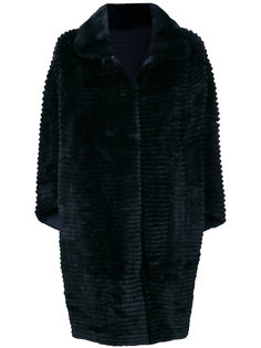 пальто в полоску с кроличьим мехом N.Peal