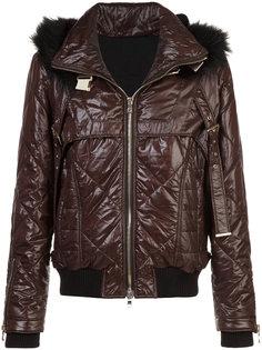 стеганая куртка с меховой оторочкой Balmain