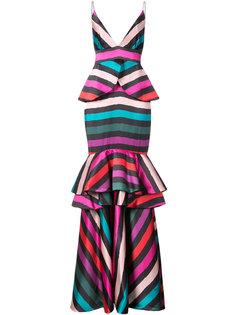 полосатое вечернее платье с баской Leal Daccarett