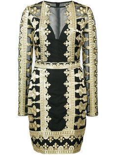 кружевное платье с вышивкой Nicole Miller