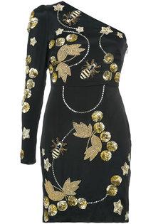 декорированное платье на одно плечо Nicole Miller
