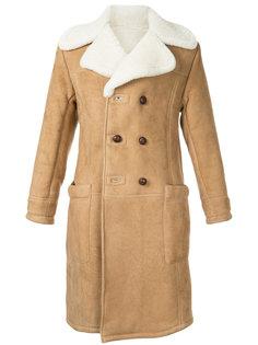 пальто с меховым воротником Kent & Curwen