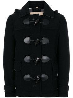 пальто с кожаной отделкой Burberry