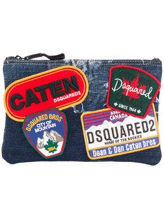 джинсовый клатч с нашивками Dsquared2