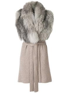 пальто с лисьим мехом без рукавов Liska