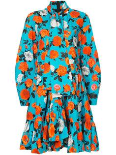 платье с оборками и цветочным принтом  MSGM