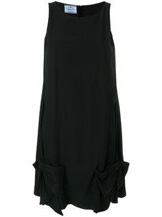 платье с бантом без рукавов Prada