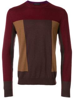 свитер дизайна колор-блок Prada
