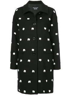 однобортное пальто с бантиками Boutique Moschino
