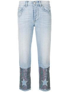 джинсы с пайетками и нашивками Dont Cry