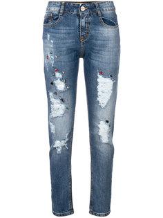 декорированные джинсы с рваными деталями Blugirl