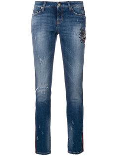 укороченные джинсы скинни с вышивкой и эффектом потертости Cambio