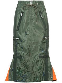 юбка с цветочной вышивкой Sacai