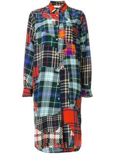 лоскутное платье-рубашка в клетку Wunderkind