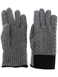 перчатки вязки косичкой с логотипом Moncler