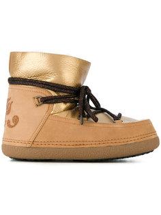 ботинки на шнуровке с эффектом металлик Inuiki