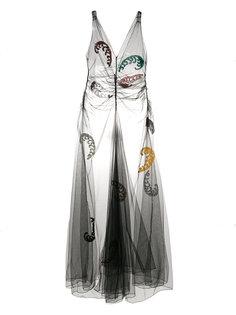 сетчатое платье с пайетками и вышивкой  Attico