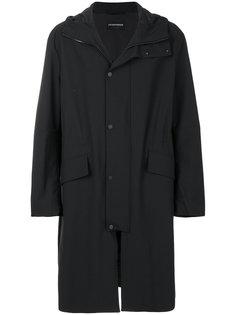 пальто с капюшоном и запахом Emporio Armani