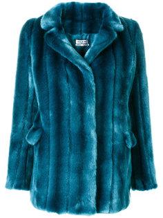 пальто с панельным дизайном из искусственного меха Paul & Joe