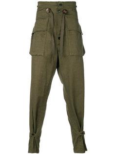 брюки с заниженной проймой в стиле милитари Takahiromiyashita The Soloist